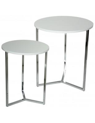 Set 2 mesas madera blanca y...